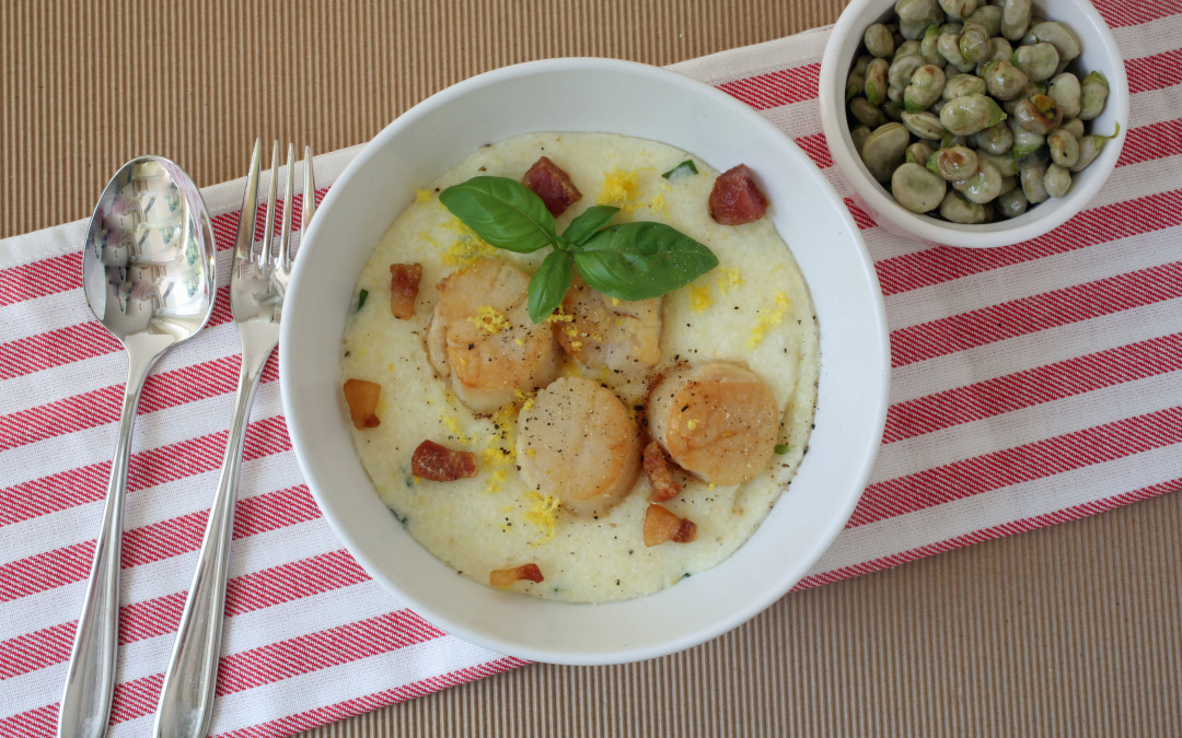 Dinner Ideas: Pan Roasted Scallop Recipe with Guanciale and Lemon Basil Grits