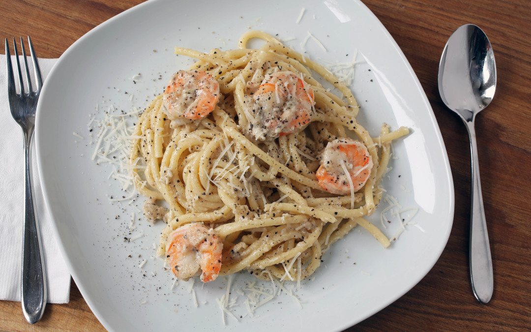 Cacio e Pepe with Shrimp