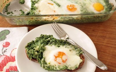 Easy Baked Eggs In Spinach